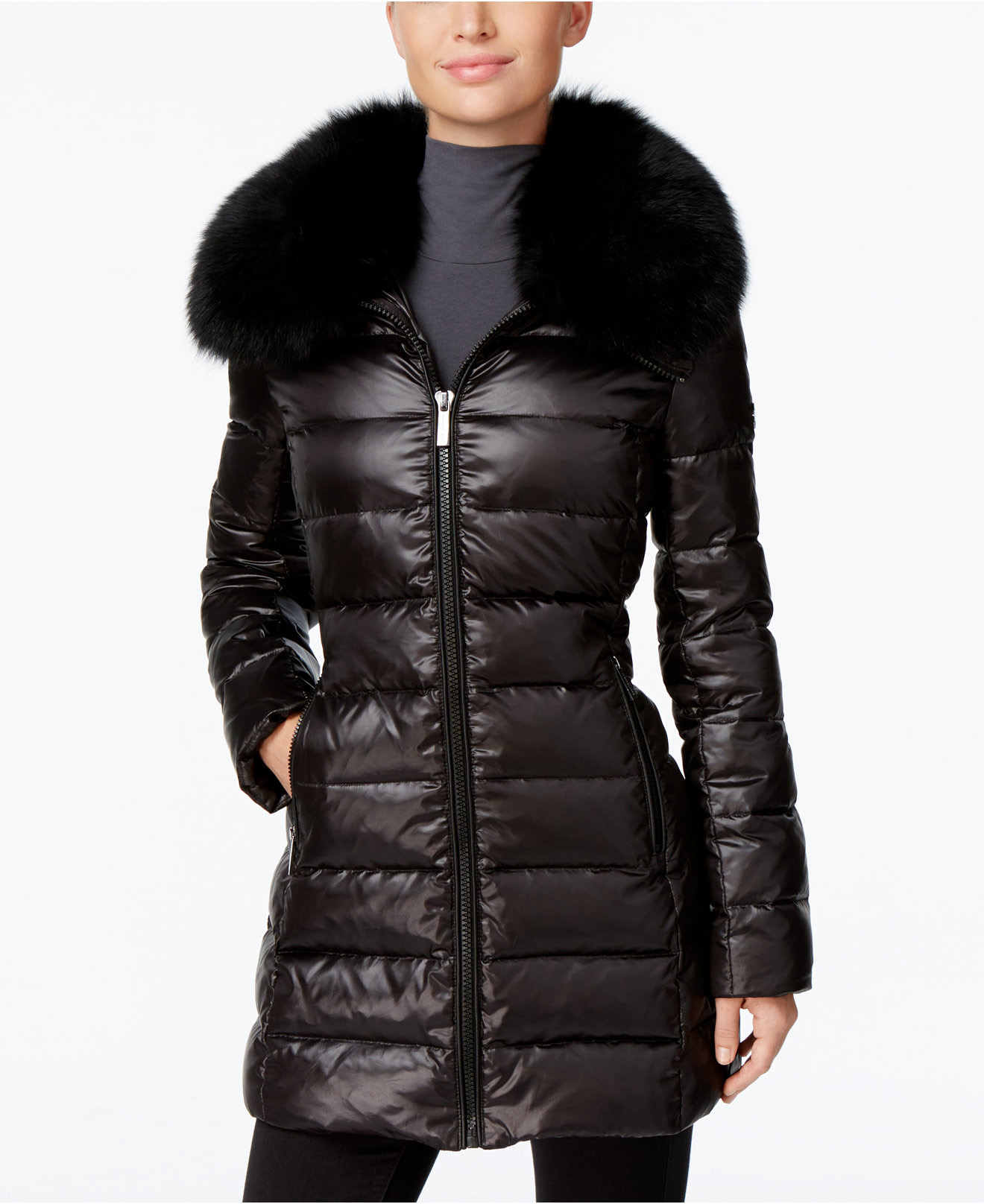 MICHAEL Michael Kors Fox-Fur-Trim Down Puffer Coat
