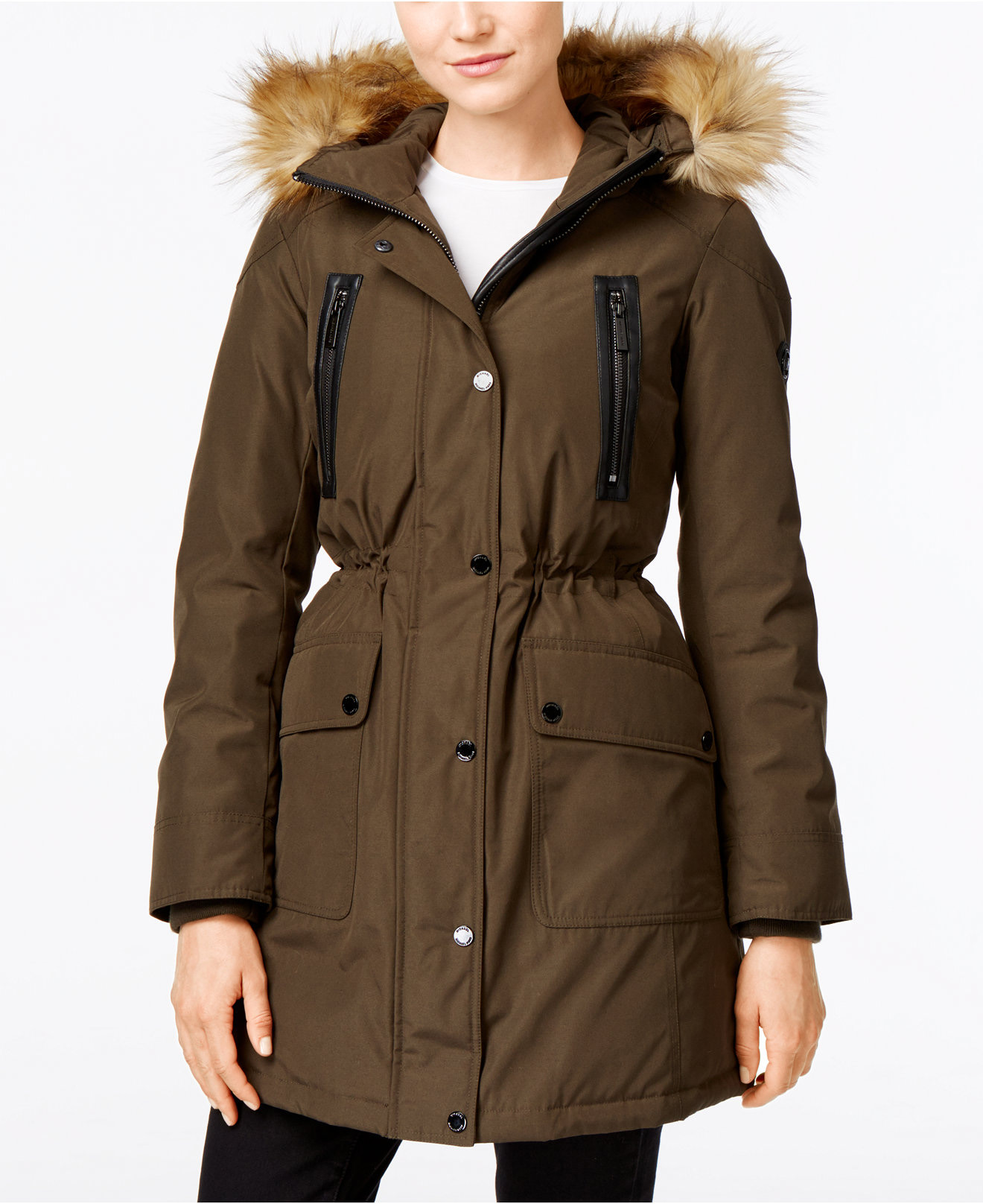 MICHAEL Michael Kors Hooded Faux-Fur-Trim Down Anorak Jacket