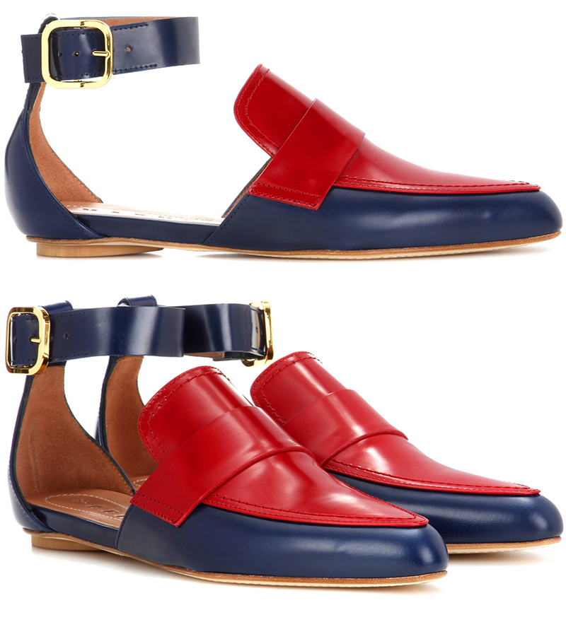 Marni red and blue slip-on leather sandals
