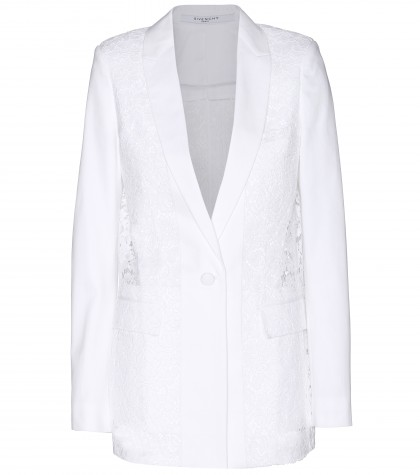 Givenchy Lace And Cotton-twill Blazer