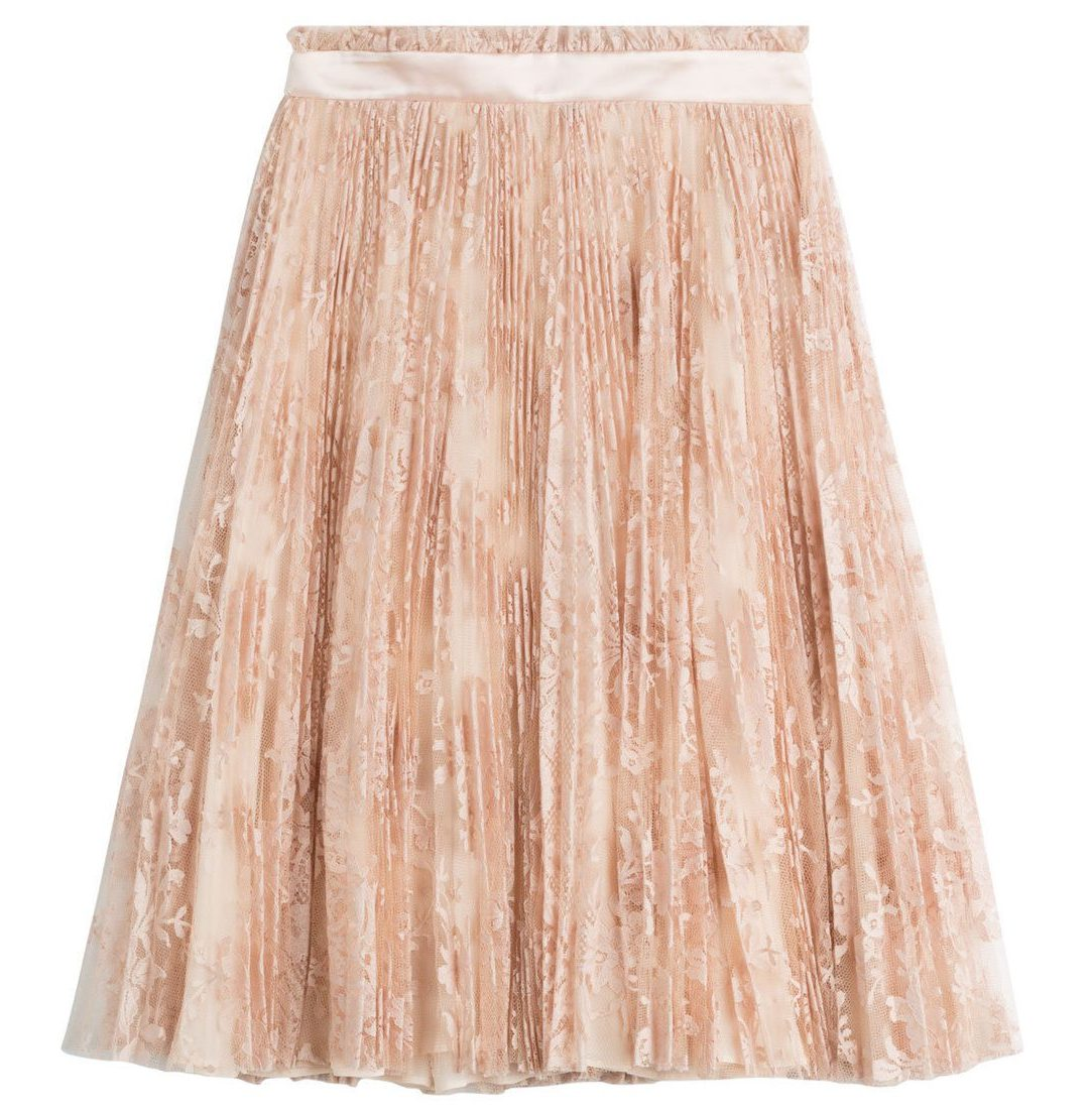 alexander mcqueen lace skirt with silk