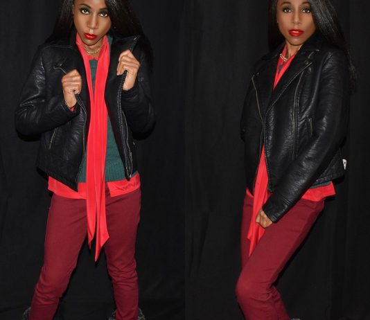 black faux leather jacket green sweater red bow blouse burgundy jeans fim