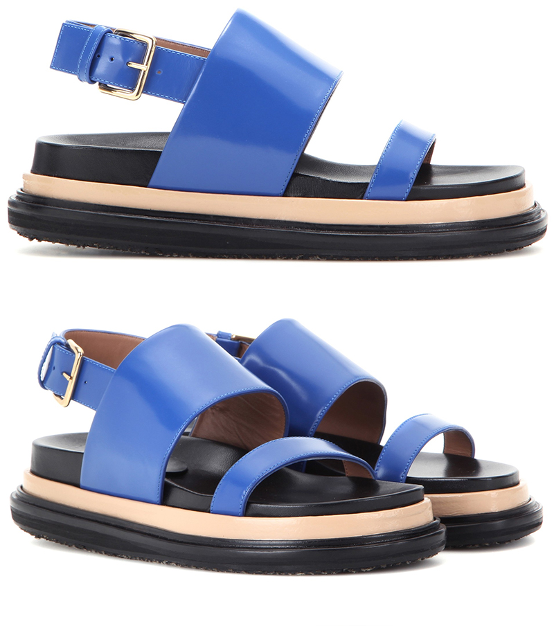 marni blue black leather sandals