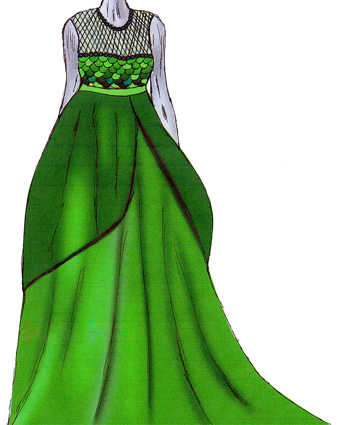 monica designs green mesh sequin satin gown