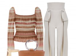 Brock collection puffed shoulders subtle peplum hem voile elasticized Taylor brown stripe top outfit