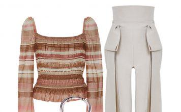 Brock collection puffed shoulders subtle peplum hem voile elasticized Taylor brown stripe top outfit