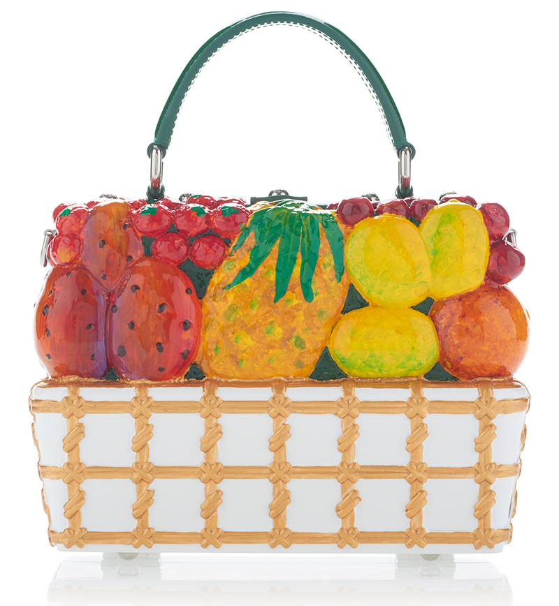 Back view of the fruit embellished Dolce Gabbana tote bag
