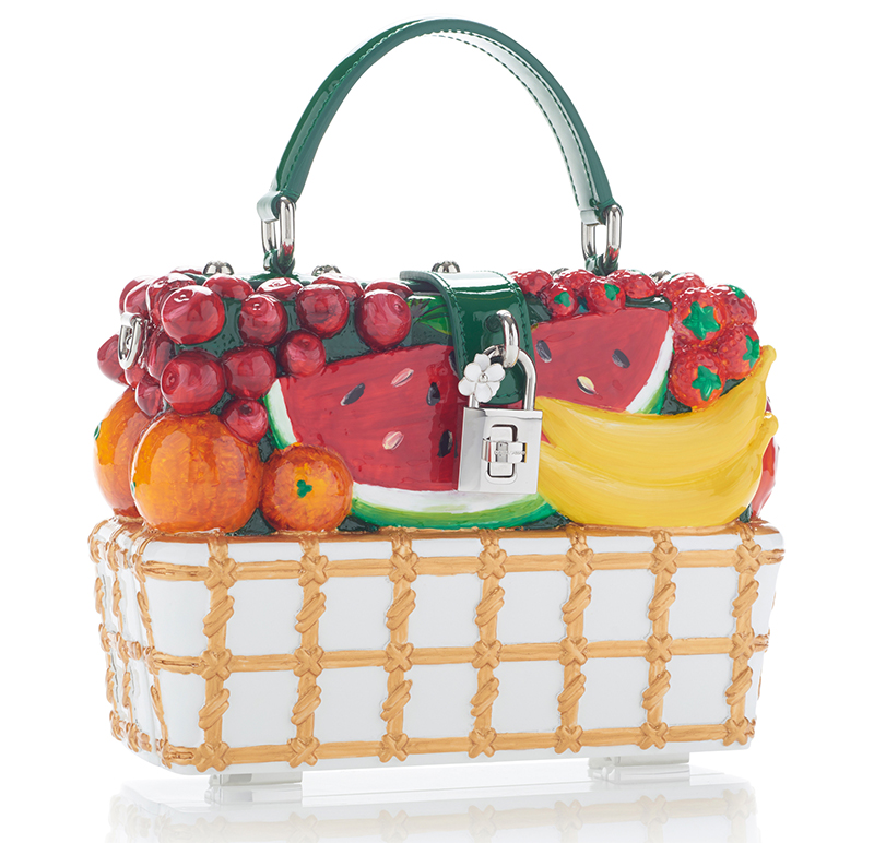 Front view of the fruit embellished Dolce & Gabbana tote bag - Dolce Gabbana tote bag