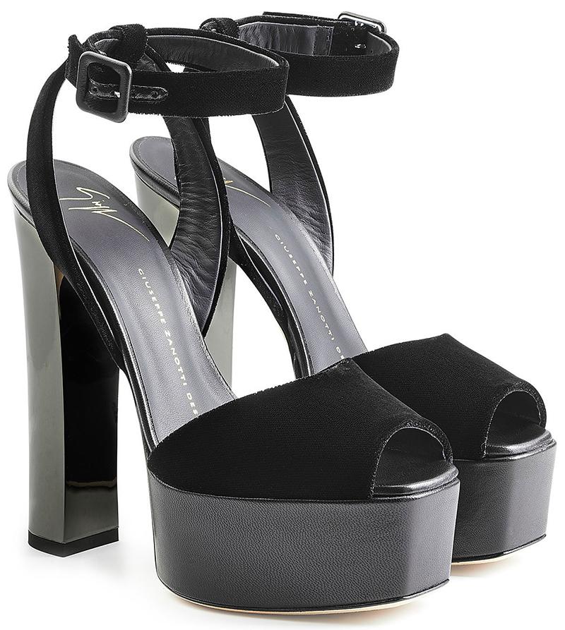 Giuseppe Zanotti black velvet platform sandals