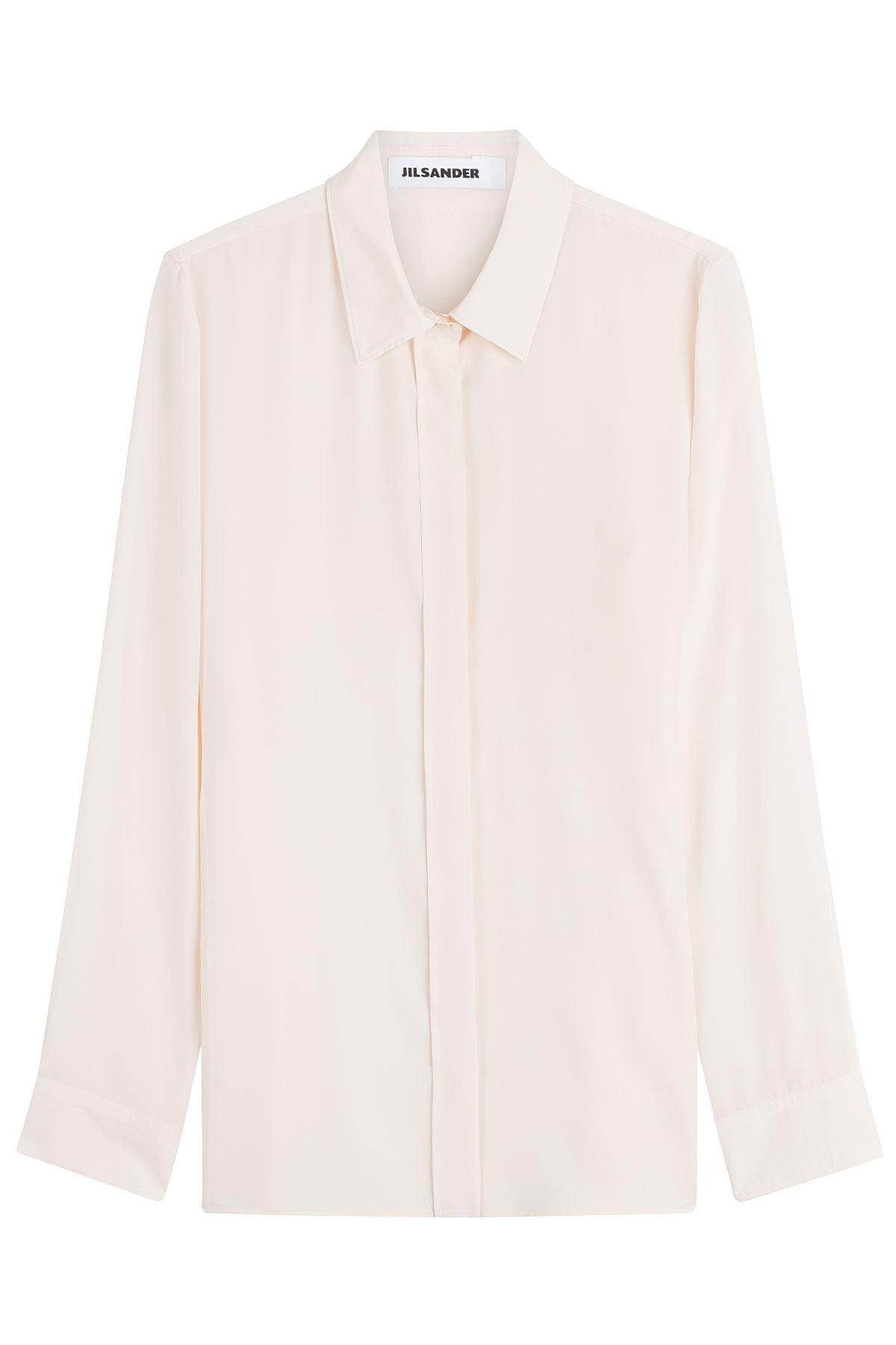 Jil Sander ivory white silk blouse