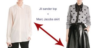 Jil Sander silk blouse Marc Jacobs faux leather skirt Guiseppe Zanotti platform sandals