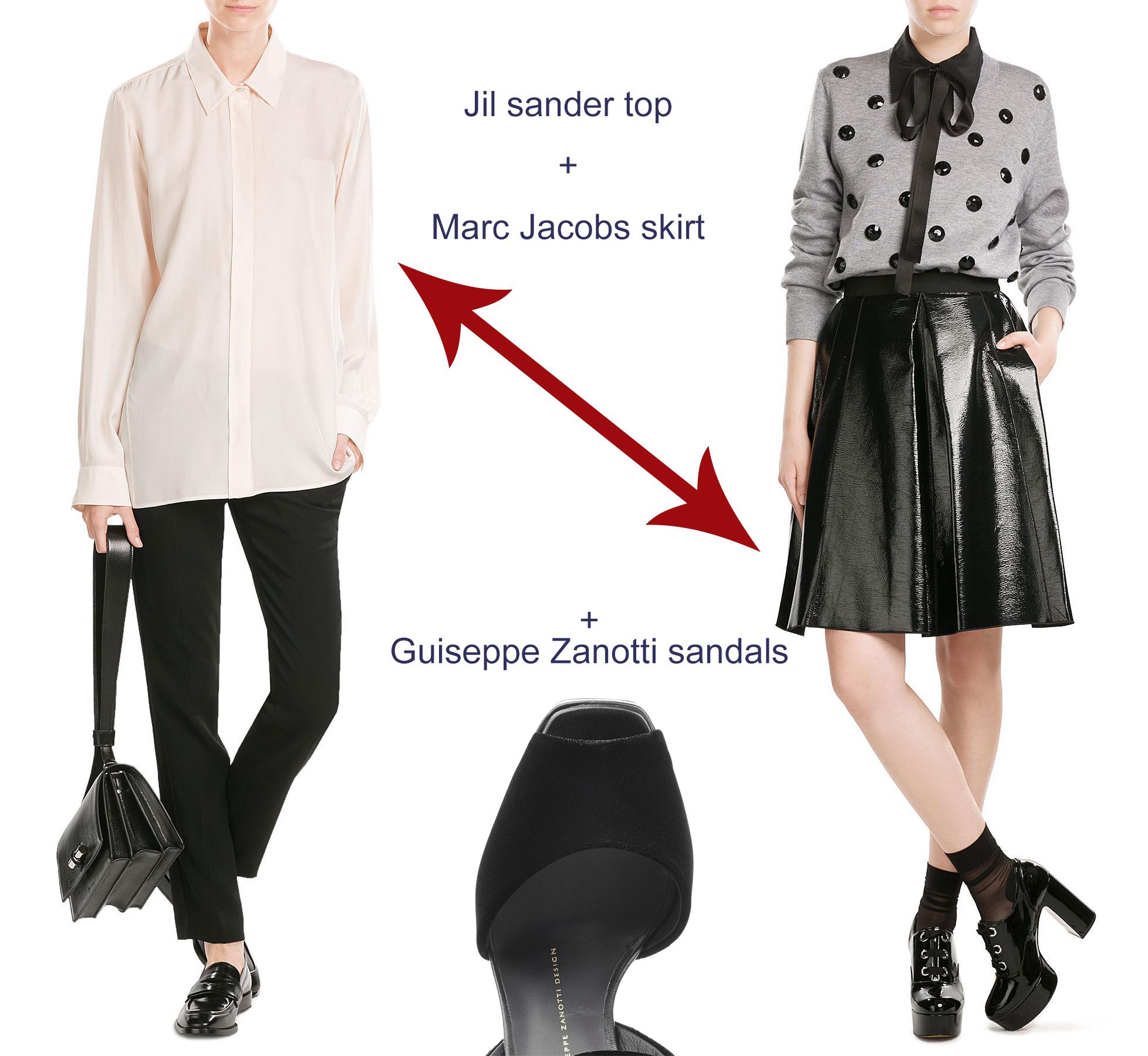 Jil Sander silk blouse Marc Jacobs faux leather skirt Guiseppe Zanotti platform sandals