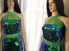 Justine the mannequin wearing makeshift green sequin dress