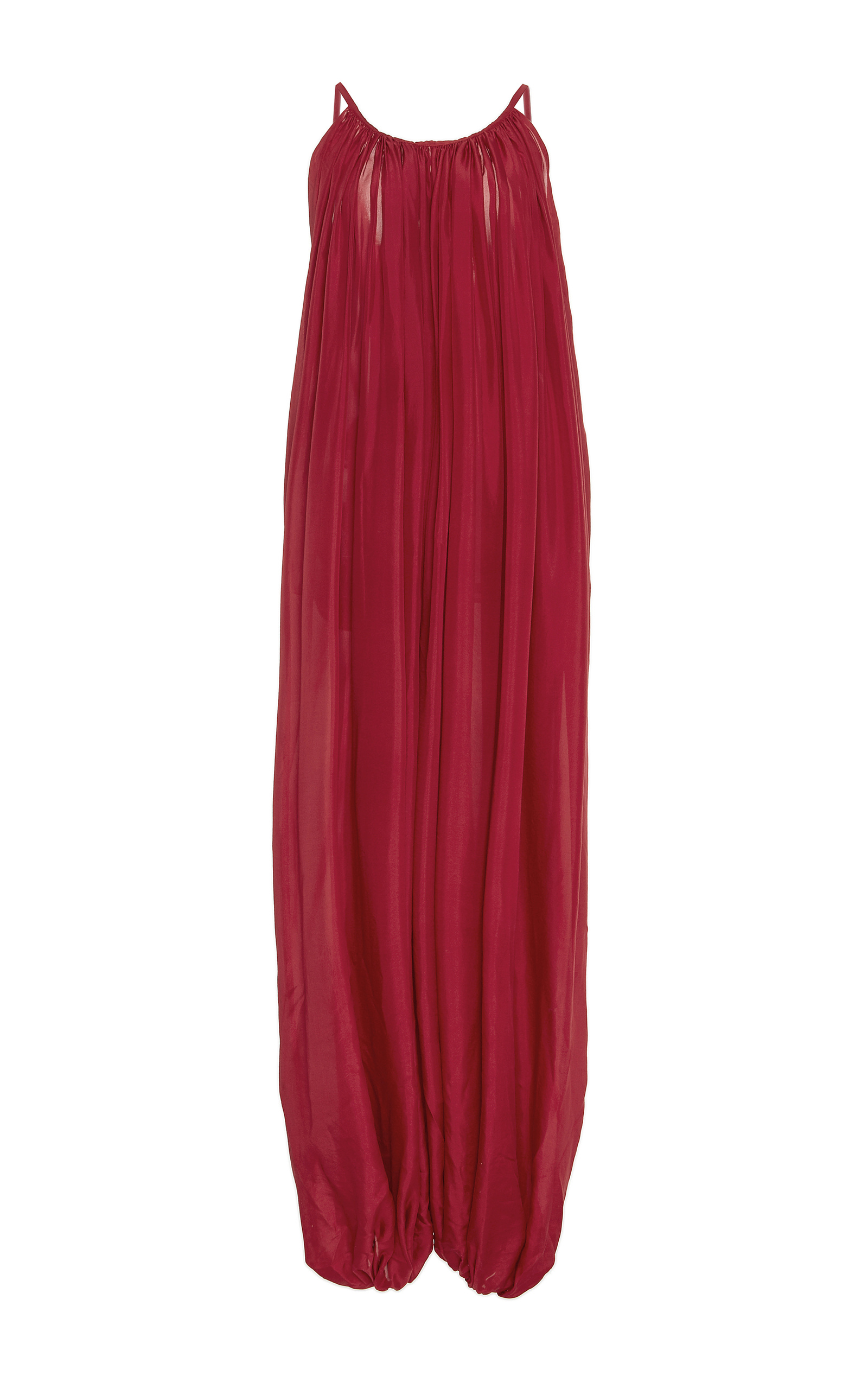 Kalita raspberry red silk balloon tank jumpsuit