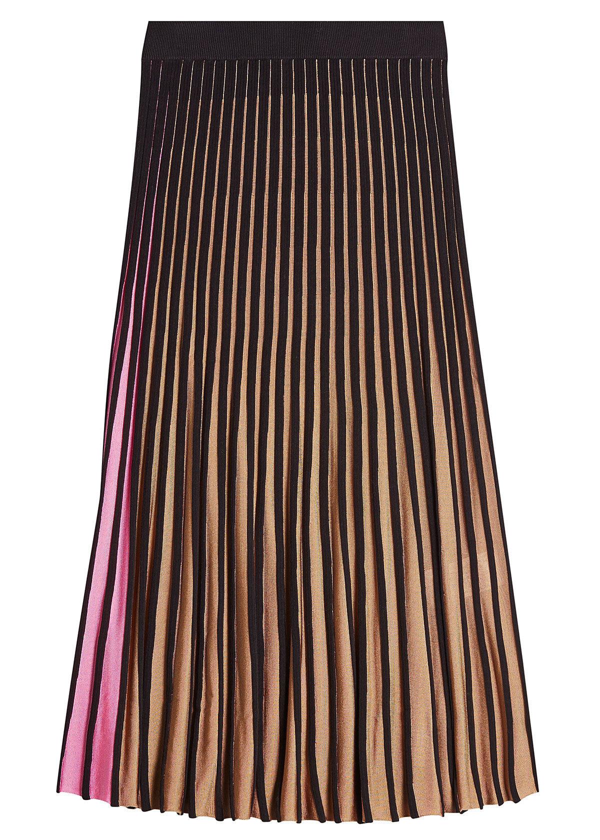 Kenzo contrast colors pleated midi skirt 319