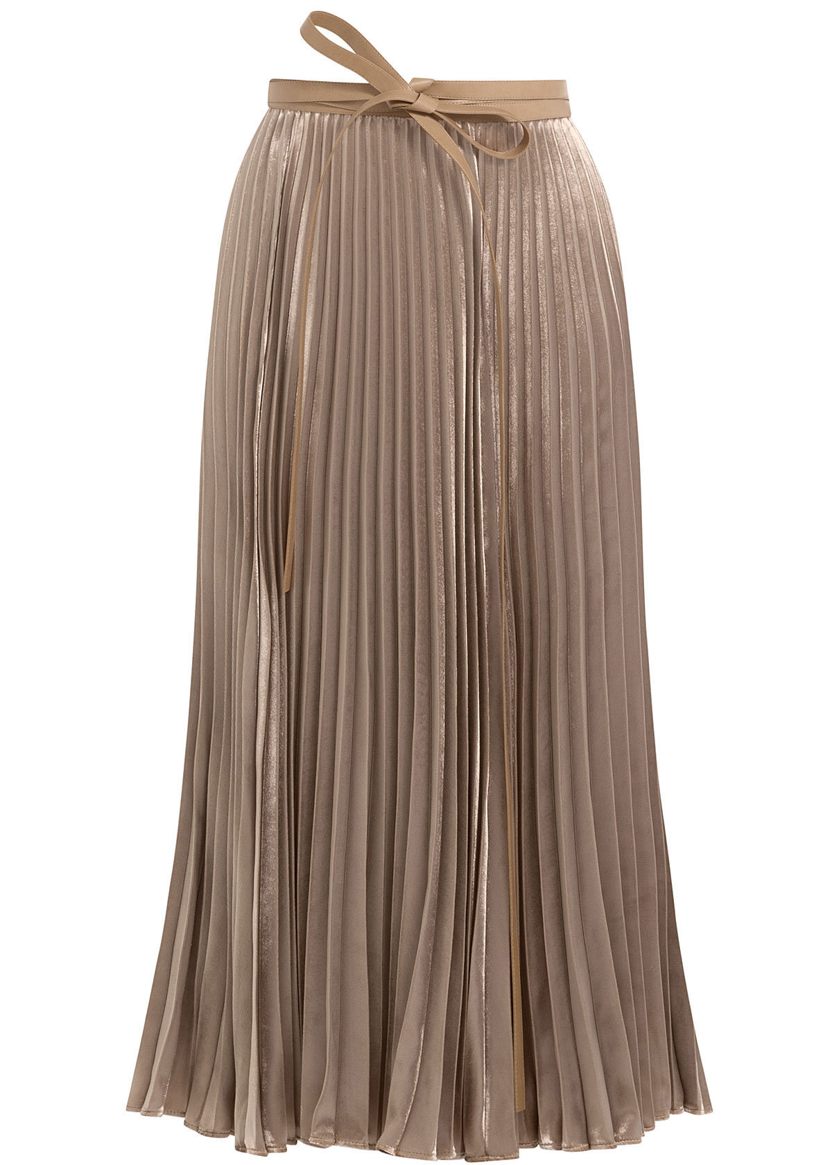 Valentino beige velvet pleated skirt with silk 4339