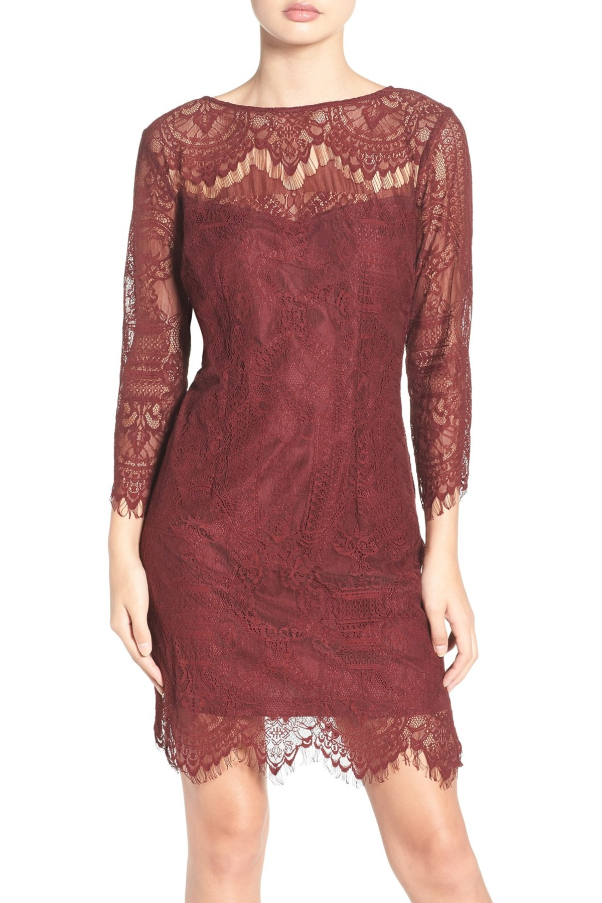 BB Dakota Everton Illusion Lace Sheath Dress in burgundy