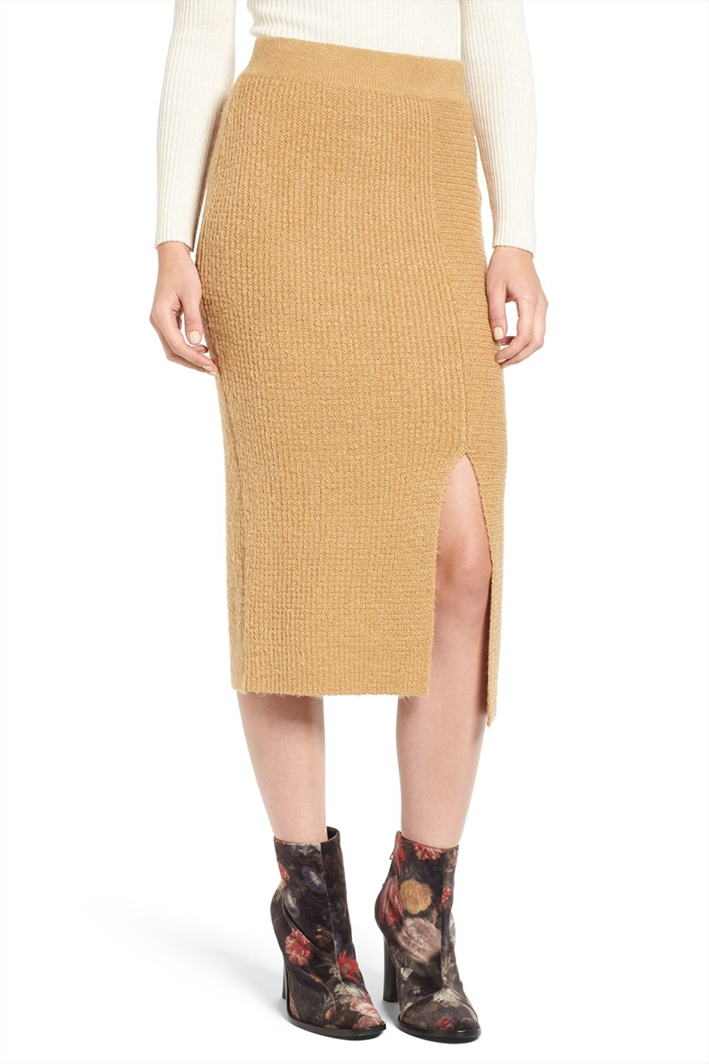 BP rib knit sweater skirt in tan toffee