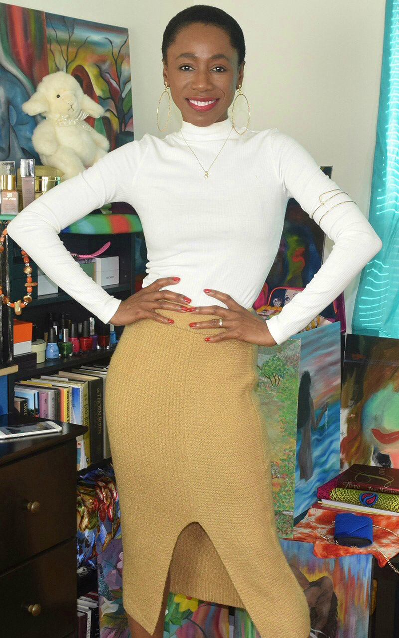 BP white Rib Knit Mock Neck Tee with BP rib knit sweater skirt in tan toffee