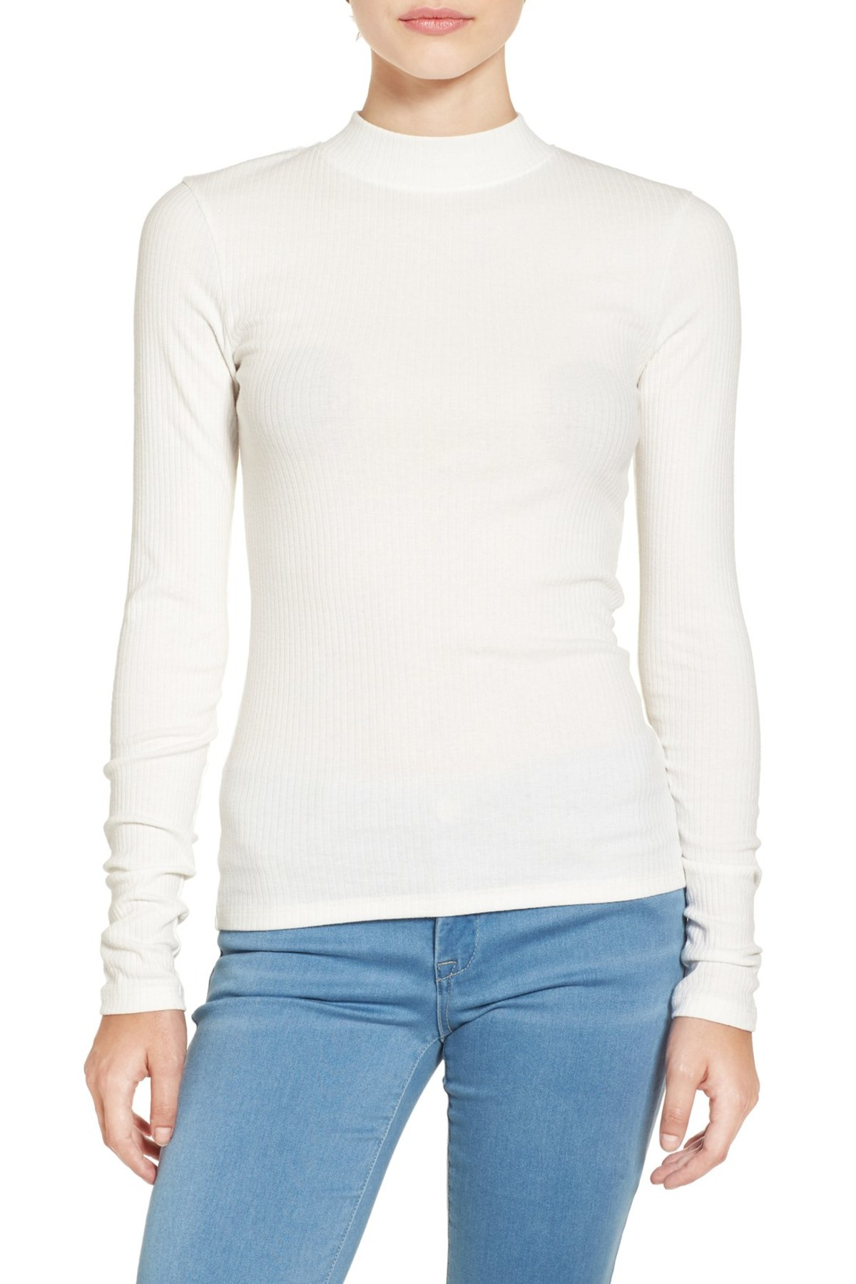BP white Rib Knit Mock Neck Tee