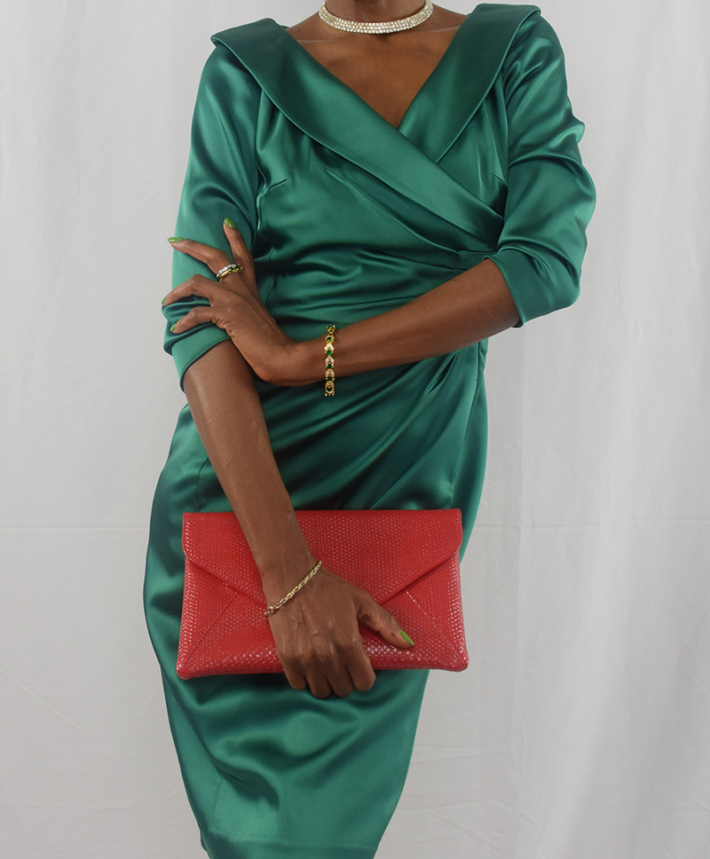 Monica Tahari green dress red clutch red heels February 13 2017