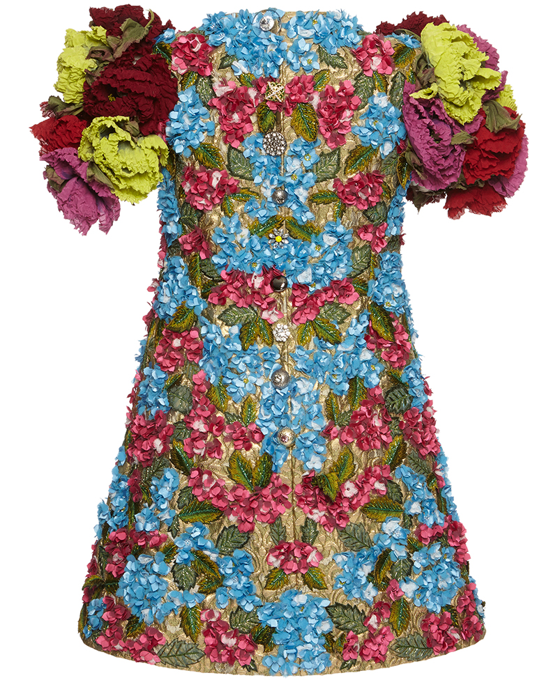 Dolce Gabbana 3d floral rose print dress multicolor blue red yellow pink gold back - Dolce Gabbana 3D floral dress