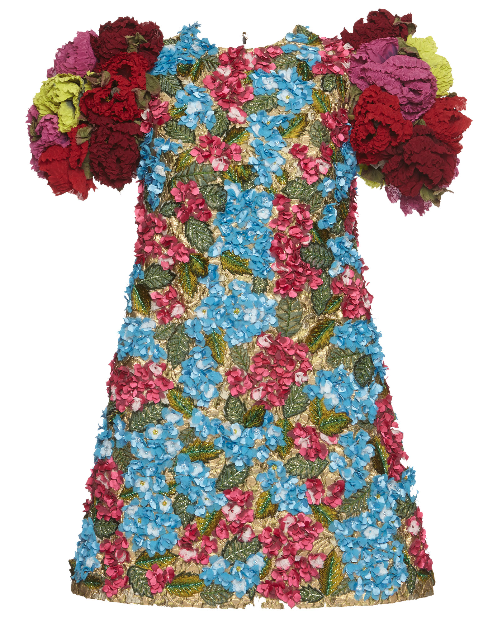 Dolce & Gabbana 3d floral rose print dress multicolor blue red yellow pink gold