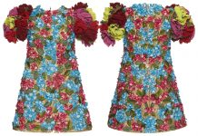 Dolce & Gabbana 3d floral rose print dress multicolor red blue yellow pink gold