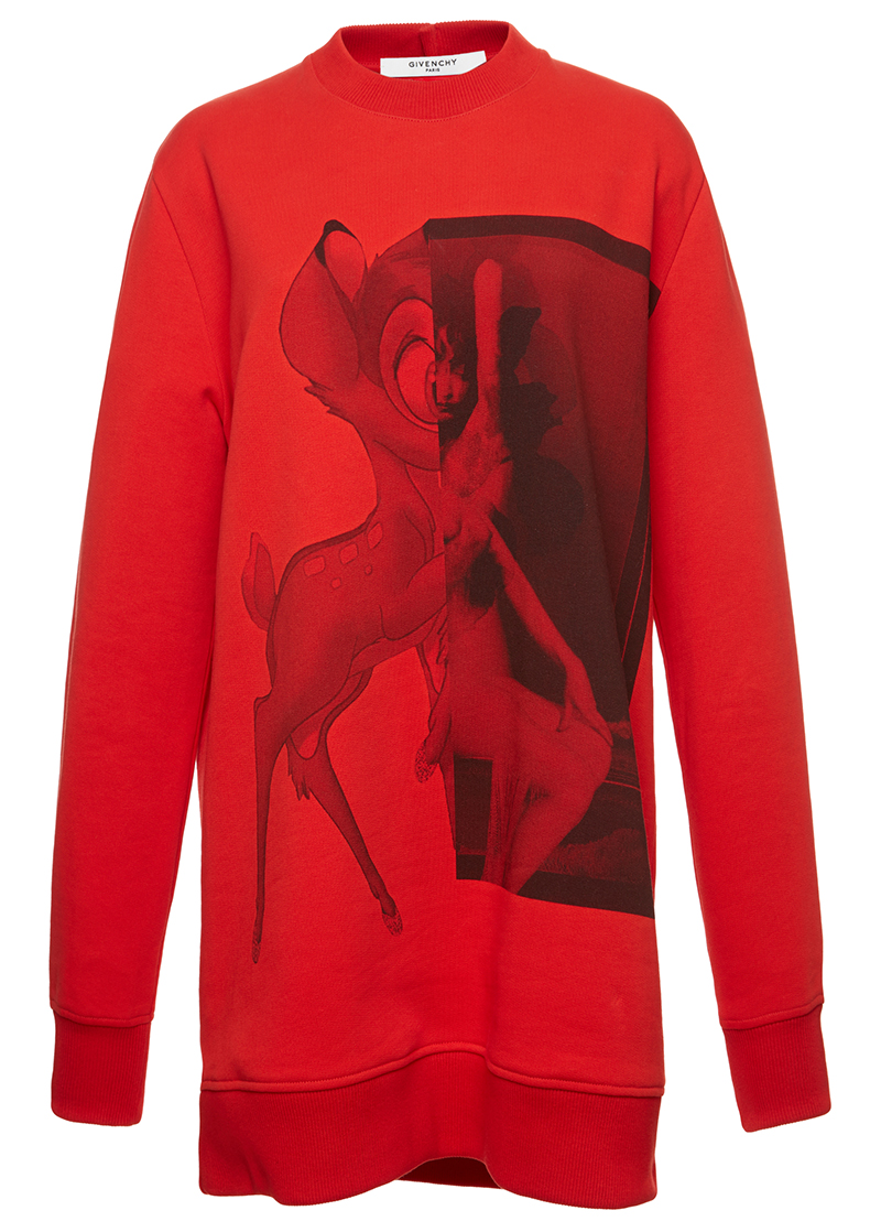 Givenchy red Bambi Printed Cotton Sweatshirt