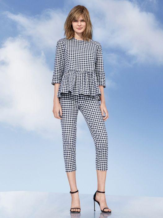 Victoria Beckham Target Blue White Gingham Twill Peplum Blouse matching pants