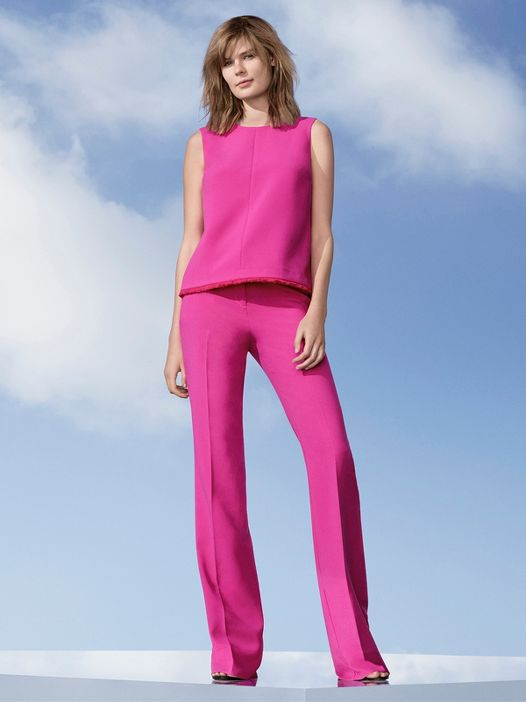 Victoria Beckham Target collaboration look 1 fuchsia pants top