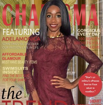 monica in the burgundy dress on fake magazine cover