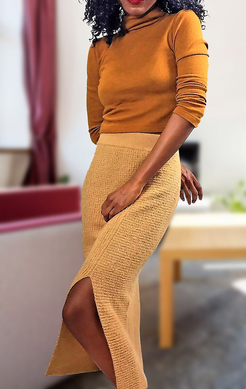 monica WAYF franklin turtleneck in tobacco with BP rib knit sweater skirt tan toffee