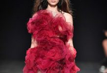 Marchesa red ruffles black tulle dress