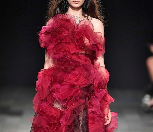 Marchesa red ruffles black tulle dress