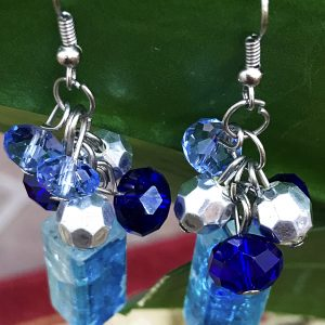 blue drop turquoise crystal cube beads dangle earrings 2