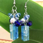 blue drop turquoise crystal cube beads dangle earrings 4