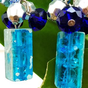 blue drop turquoise crystal cube beads dangle earrings