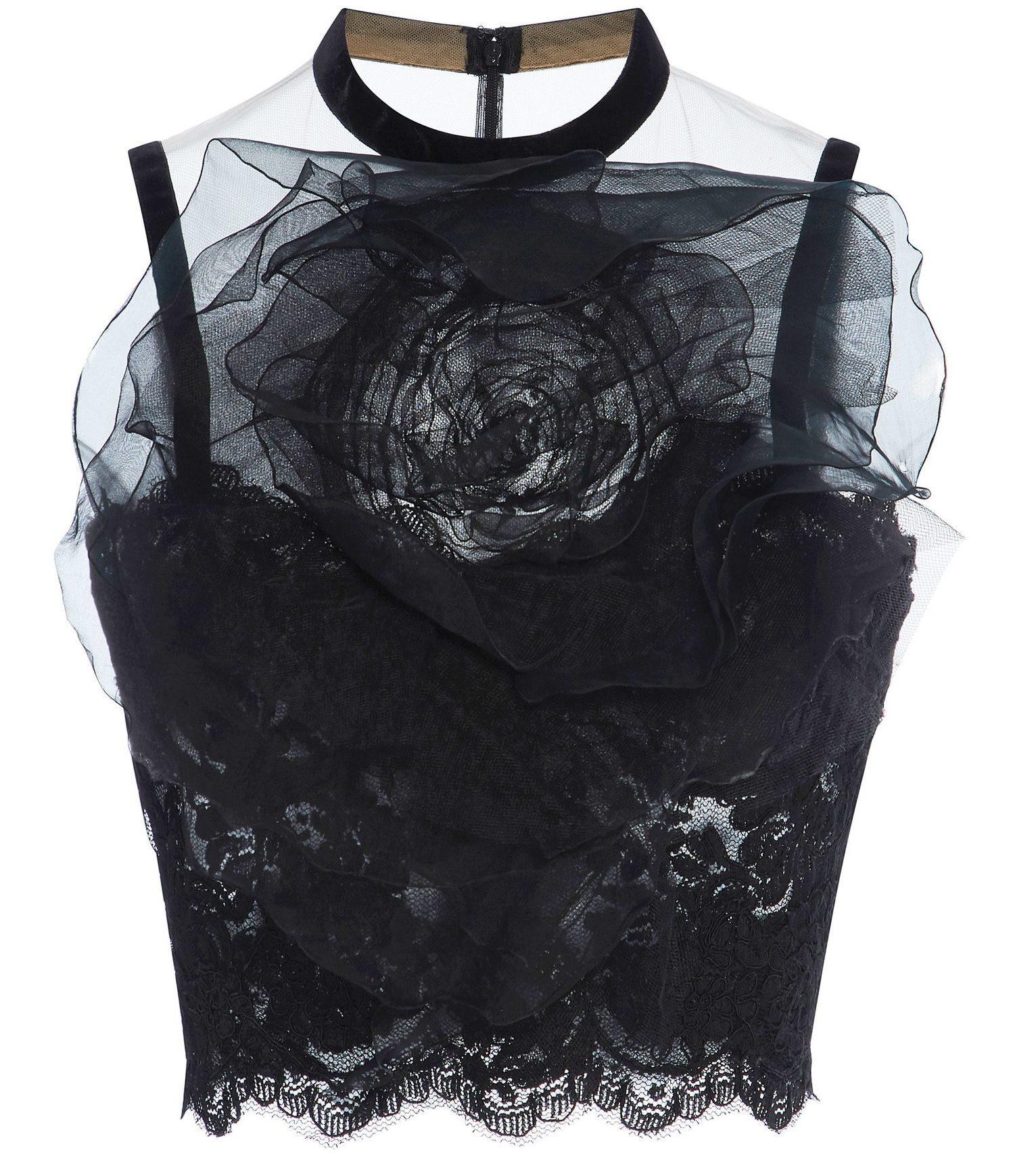 Marchesa black silk organza 3D flower top