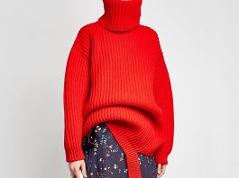 Balenciaga red Deconstructed Virgin Wool Turtleneck Pullover rollneck sweater