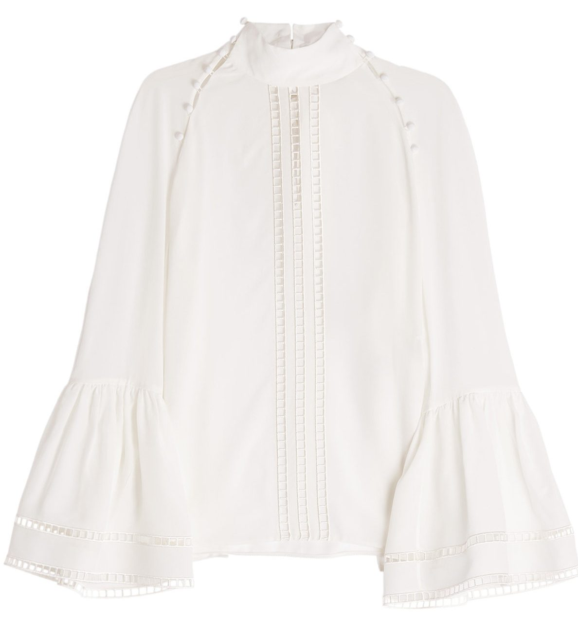 Fendi white silk crepe blouse