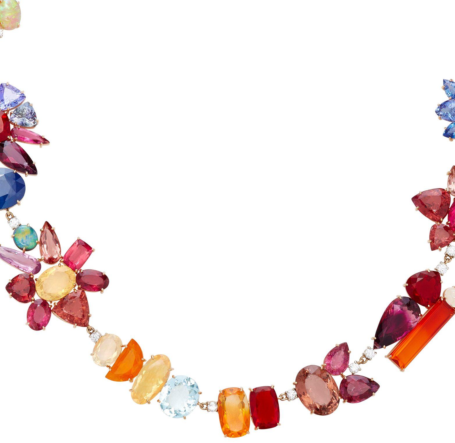 Irene Neuwirth necklace 18K Rose and White Gold Multi-Stone Necklace