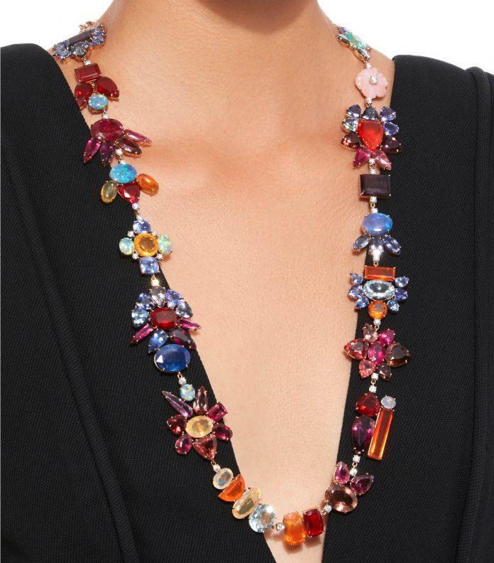 Irene Neuwirth 18K Rose and White Gold Multi-Stone Necklace