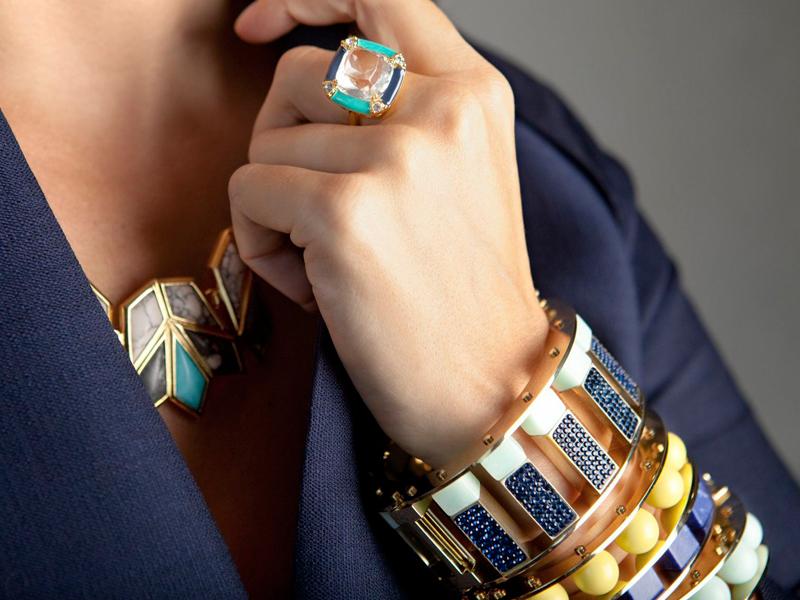 Lele Sadoughi Pave Mini Cube Slider Bracelet