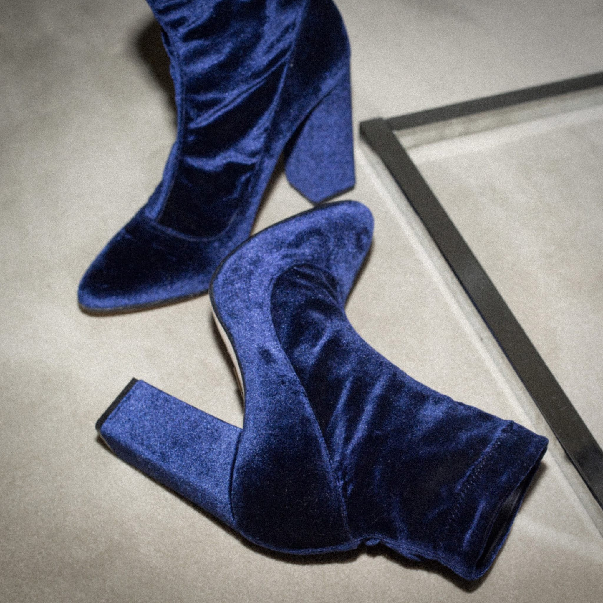 Tamara Mellon Caress navy velvet boots
