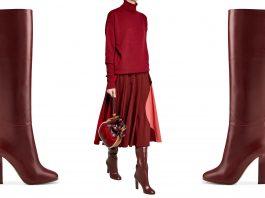 Victoria Beckham burgundy knee high boots sweater marni bag roksanda skirt