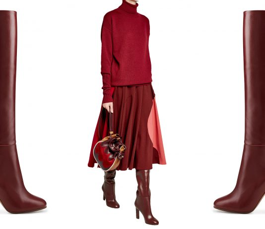 Victoria Beckham burgundy knee high boots sweater marni bag roksanda skirt