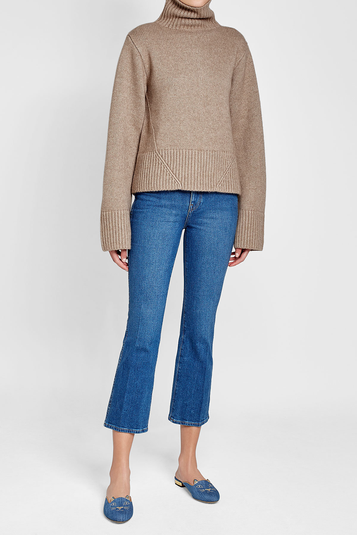 khaite wallis cashmere turtleneck with Khaite benny cropped flared jeans spring 2018 outfit ideas