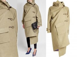 Balenciaga asymmetric Cashmere Duffle Coat with Silk