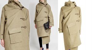 Balenciaga asymmetric Cashmere Duffle Coat with Silk